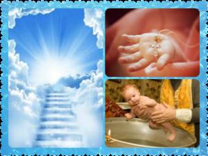 Крестины, малыш - крестик, небеса, лестница в рай